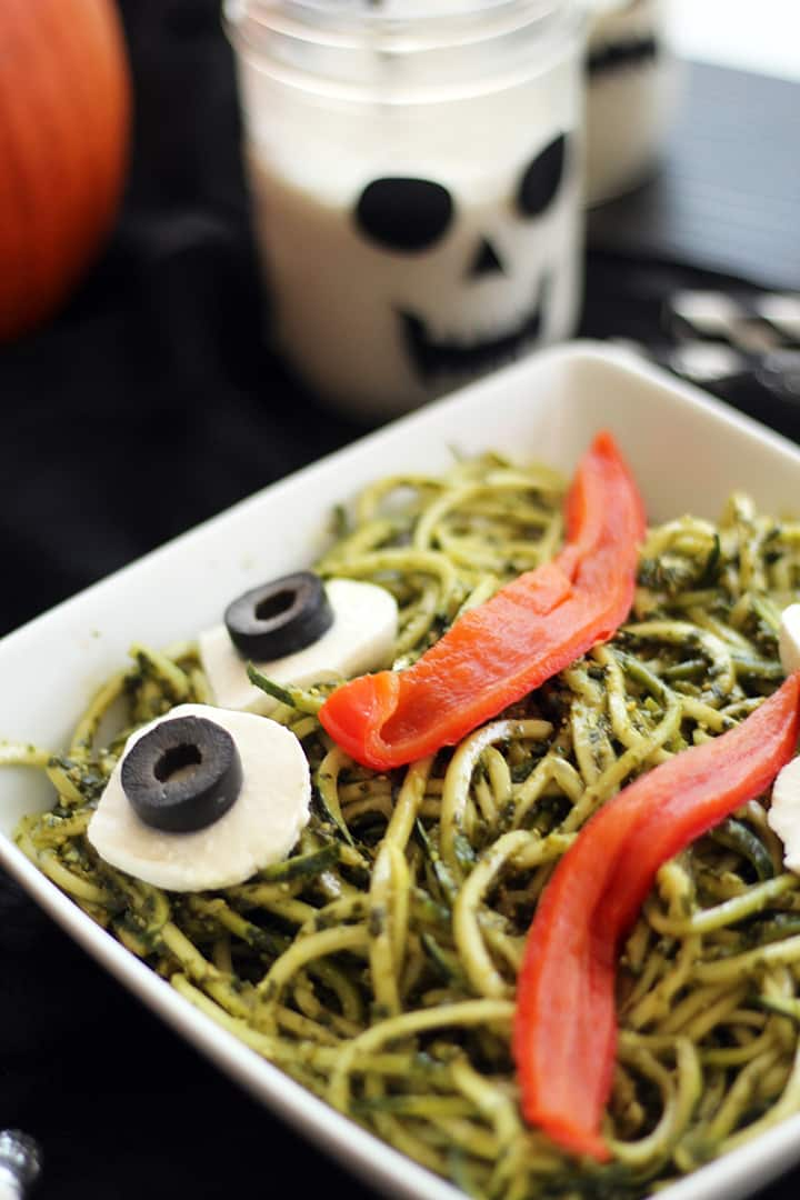 Pesto Zucchini Noodles for Kid's Halloween Party