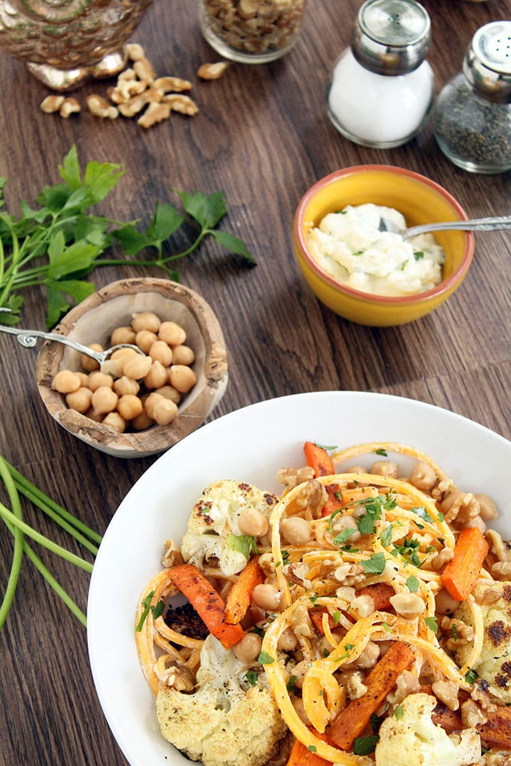 Herbed Ricotta Chickpea Butternut Squash Noodles with Cumin-Roasted Carrots and Cauliflower