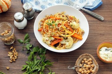 Herbed Ricotta Butternut Squash Noodles with Walnuts, Chickpeas and Cumin-Roasted Carrots and Cauliflower