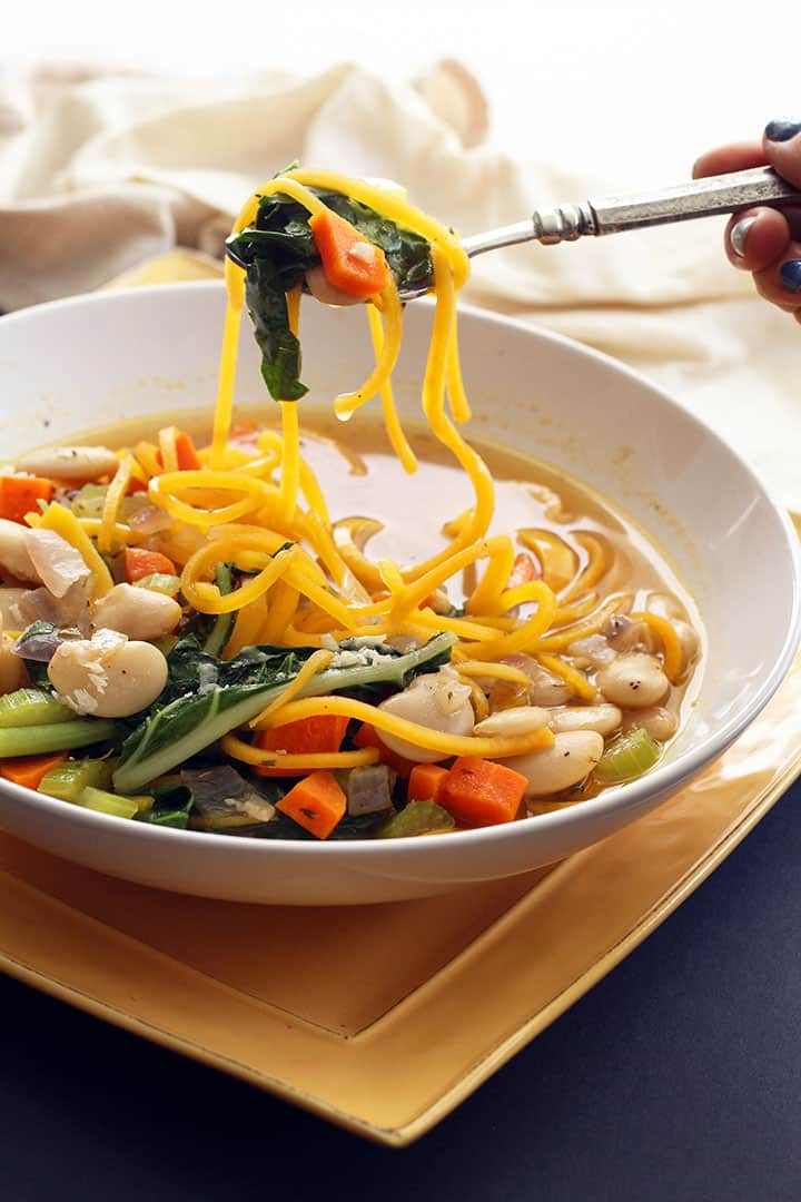Butternut Squash Noodle Soup with Swiss Chard and Butter Beans