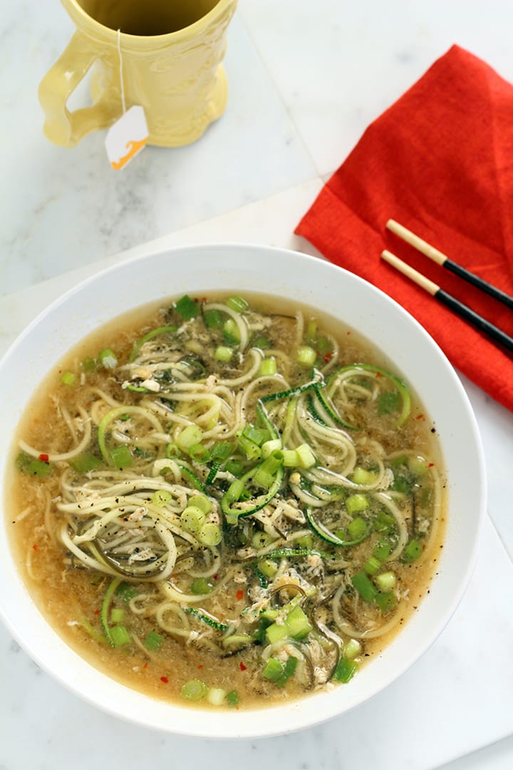 Ginger Scallion & Egg Drop Zucchini Noodle Bowl | Inspiralized