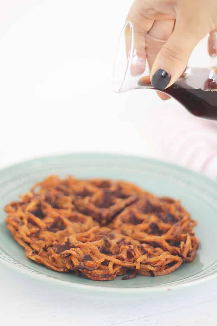 pumpkin spice sweet potato noodle waffles