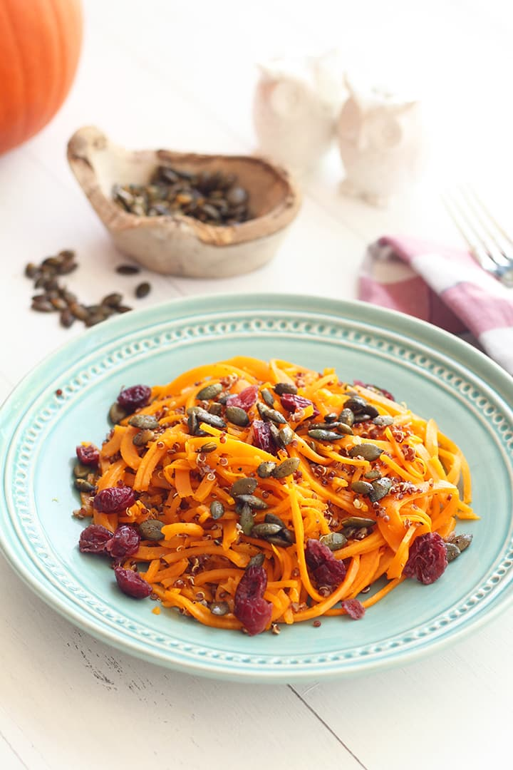 Roasted Butternut Squash Noodles & Quinoa with Dried Cranberries, Spiced Pumpkin Seeds and Goat Cheese