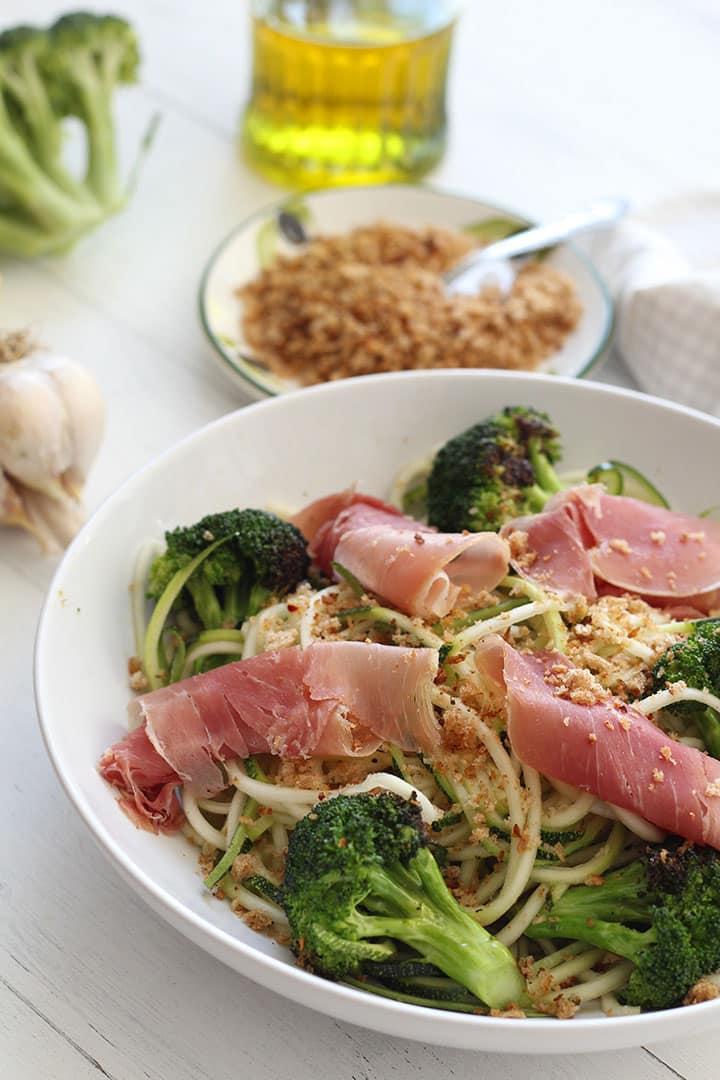 Lemon Garlic Broccoli Zucchini Pasta with Prosciutto