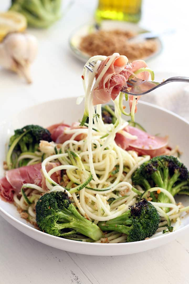Lemon Garlic Broccoli Zucchini Pasta with Prosciutto