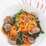 garlic escarole sweet potato noodle and sweet italian sausage