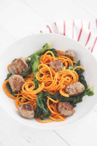 Garlic Escarole Sweet Potato Noodles with Sweet Italian Sausage & DIY Napkins