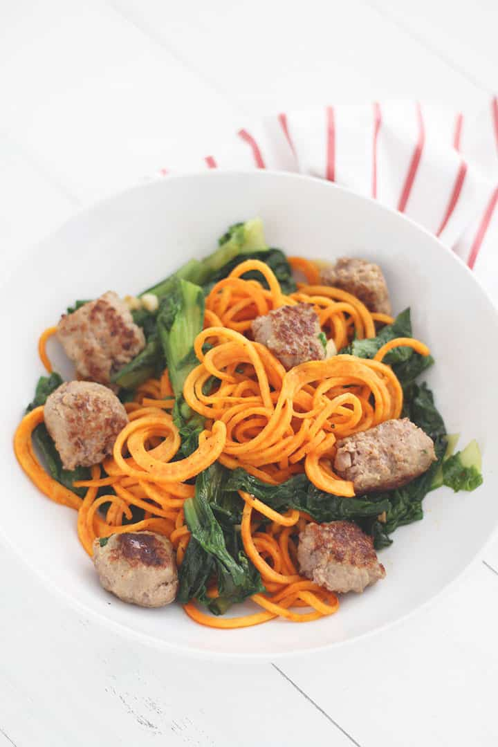 garlic escarole sweet potato noodle and sweet italian sausage