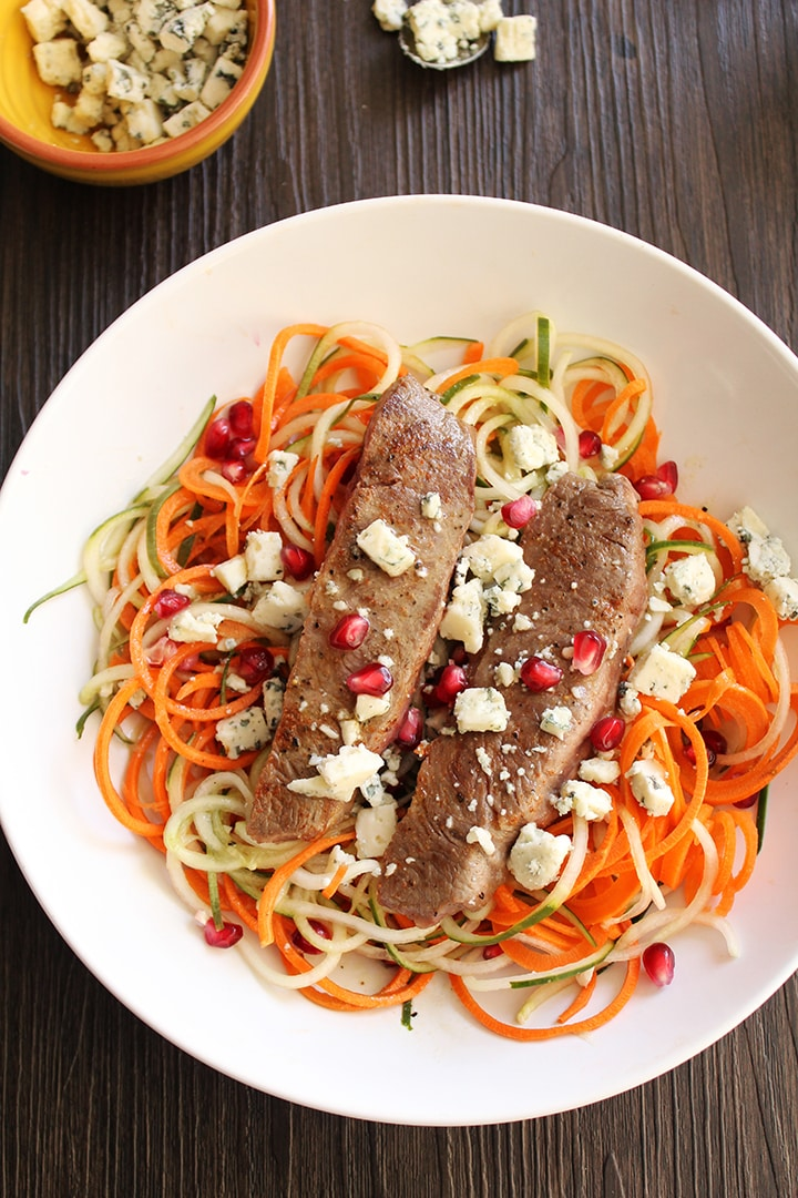 Pomegranate-Maple-Cider Carrot & Cucumber Noodles with Chili Beef and Blue Cheese