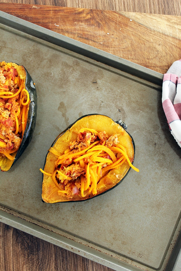 Butternut Squash Noodle Turkey Bolognese Stuffed Acorn Squash with Melted Gruyere