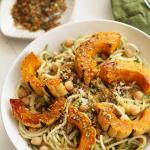 Maple Roasted Delicata Squash & Chickpea Zucchini Pasta with Toasted Pumpkin Gremolata Breadcrumbs