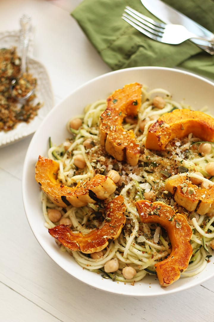 Maple Roasted Delicata Squash & Chickpea Zucchini Pasta with Toasted Pumpkin Gremolata Breadcrumbs