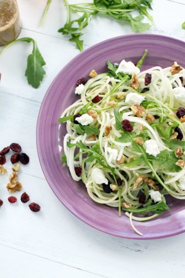 How to Spiralize a Kohlrabi: Kohlrabi & Green Apple Noodle Arugula Salad with Goat Cheese, Dried Cranberries & Walnuts with a Honey-Dijon Dressing