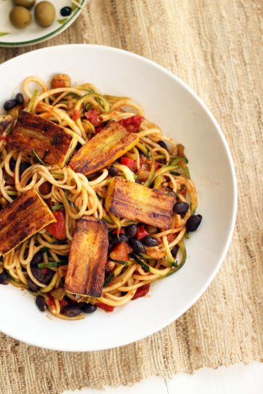 Sofrito Zucchini Pasta with Beans and Lightly Fried Plantains