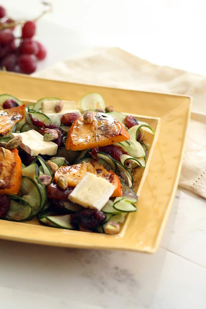 Warm Balsamic & Roasted Grape Cucumber Noodles with Roasted Persimmons, Camembert and Pistachios