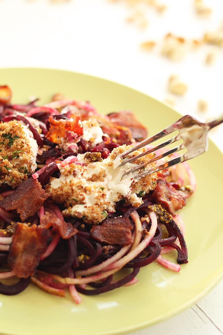 Beet and Anjou Pear Noodles & Baked Goat Cheese with Warm Bacon-Pistachio Dressing