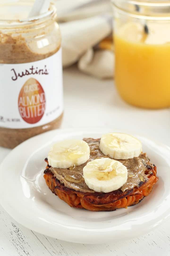 Inspiralized Breakfast Bun with Justin's Almond Butter, Banana & Honey