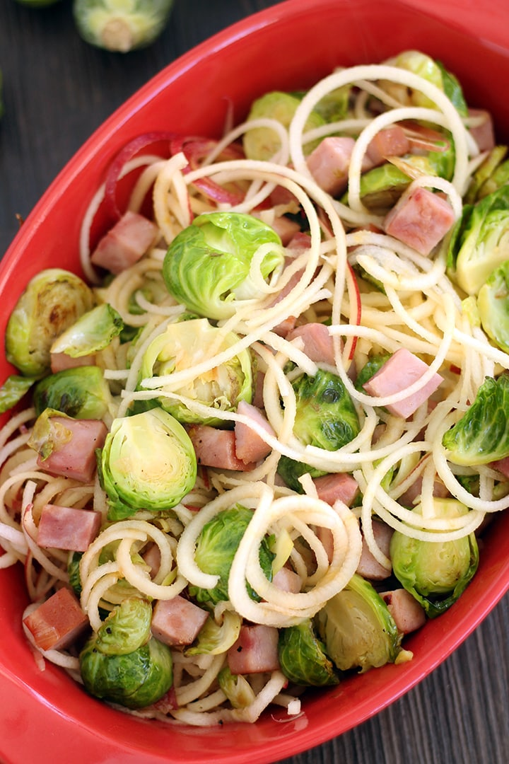 Maple Brussel Sprout & Ham Hash with Apple Noodles