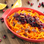 Roasted Butternut Squash Noodles with Orange-Cranberry Sauce & Honey Roasted Pecans