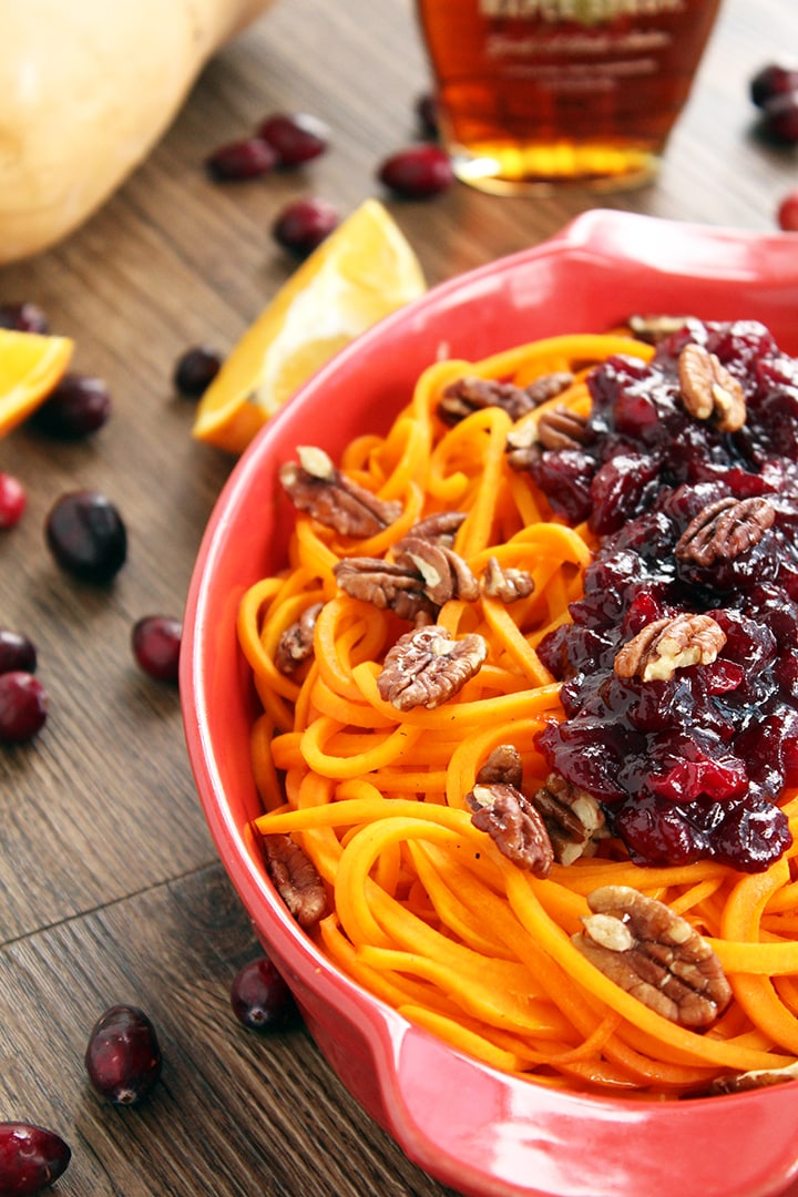 Orange-Cranberry Glazed Butternut Squash Noodles with Honey Roasted Pecans