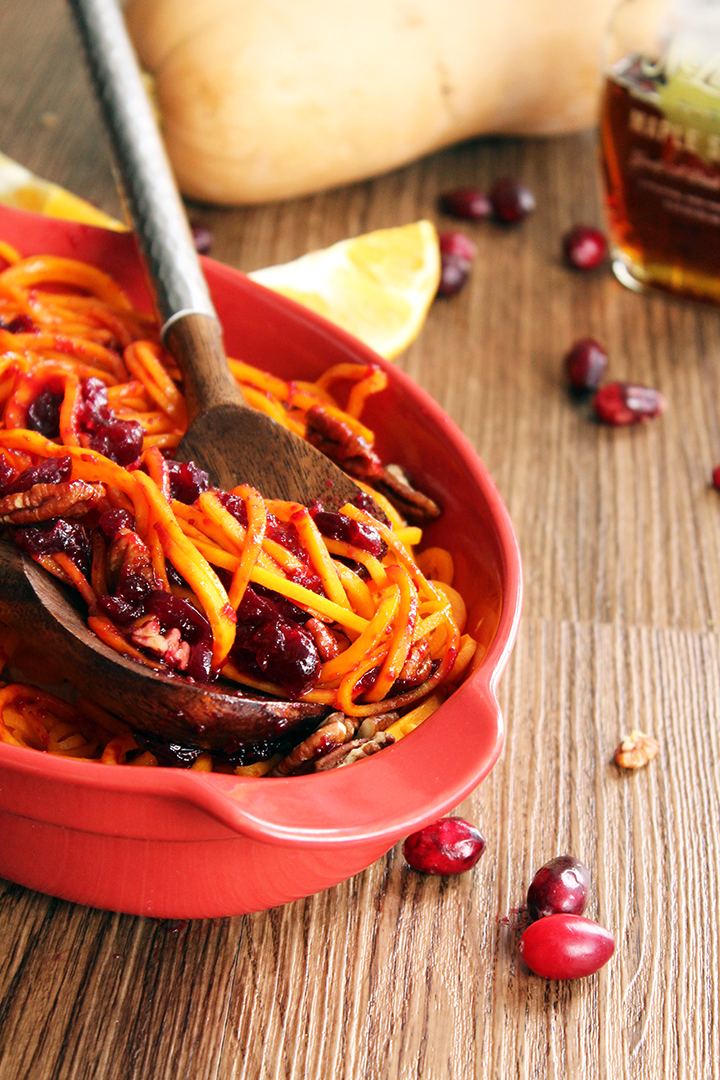 Orange-Cranberry Glazed Butternut Squash Noodles with Honey Roasted Pecans