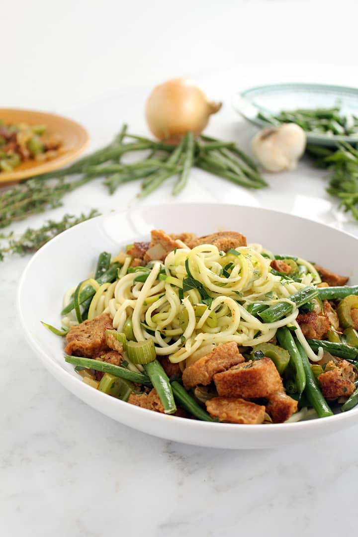 Zucchini Pasta with Stuffing and Green Bean Leftovers