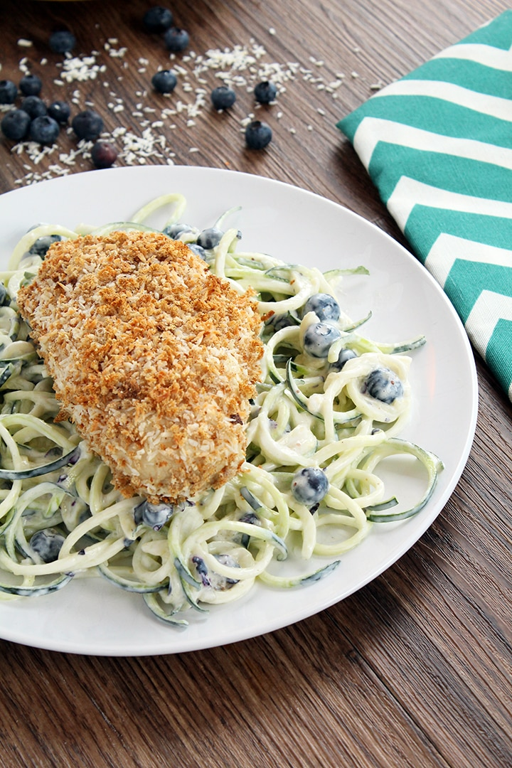 Blueberry-Yogurt Zucchini Pasta Salad with Coconut Crusted Baked ...
