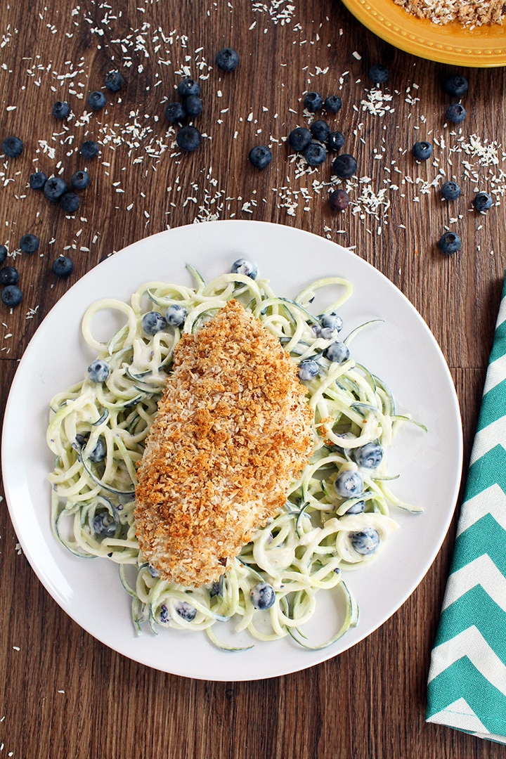 Blueberry-Yogurt Zucchini Pasta Salad with Coconut Crusted Baked Chicken