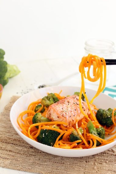 """Baked Salmon & Sesame Butternut Squash """"Soba"""" Noodles with Broccoli (at Against All Grain!)"""