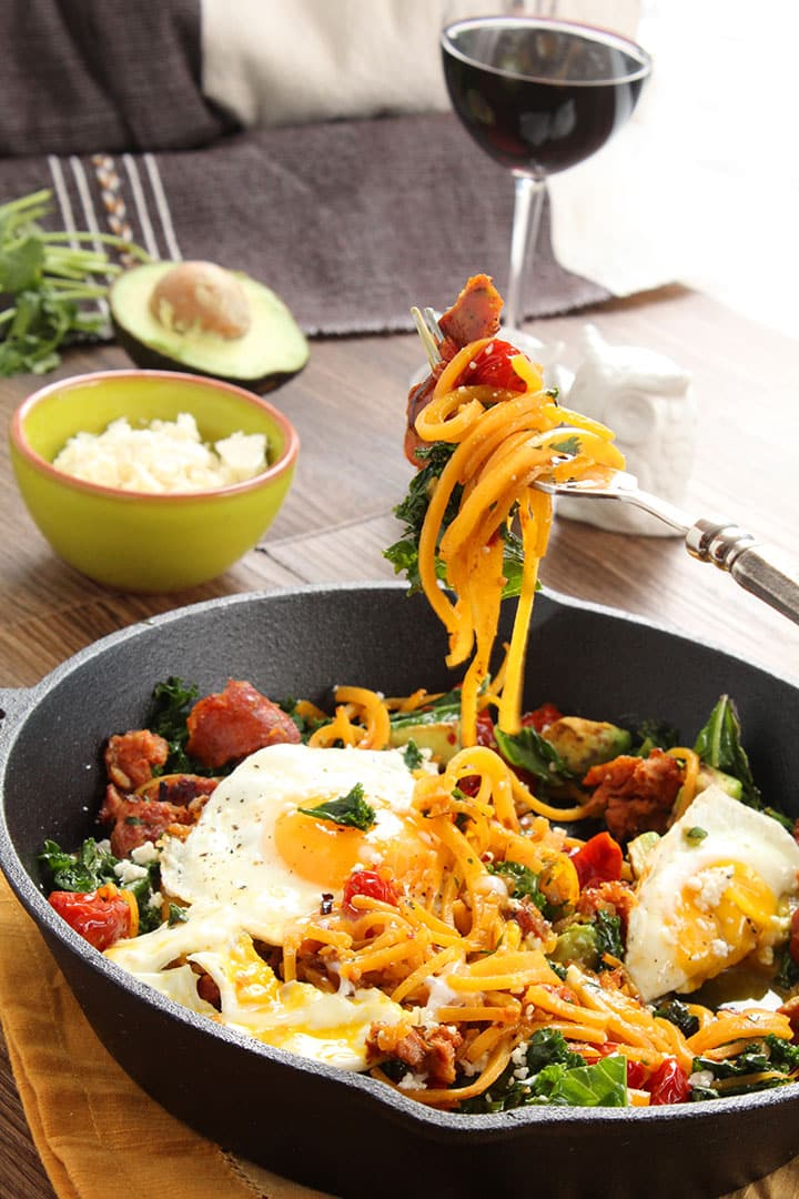 Smoked Chorizo and Butternut Squash Noodle Skillet with Avocado, Kale ...