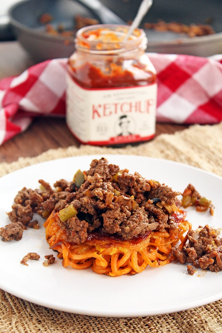 Inspiralized Naked Sloppy Joe Buns with Sir Kensington's Spiced Ketchup