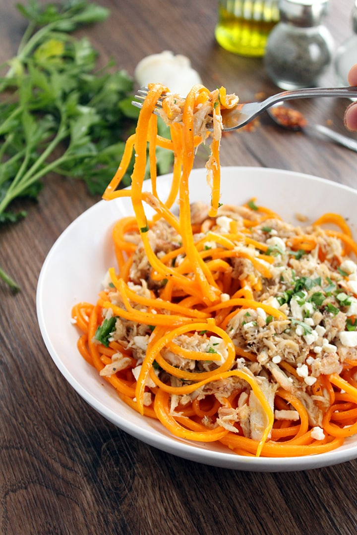 Spicy Garlic Lump Crab Butternut Squash Pasta with Feta & Parsley