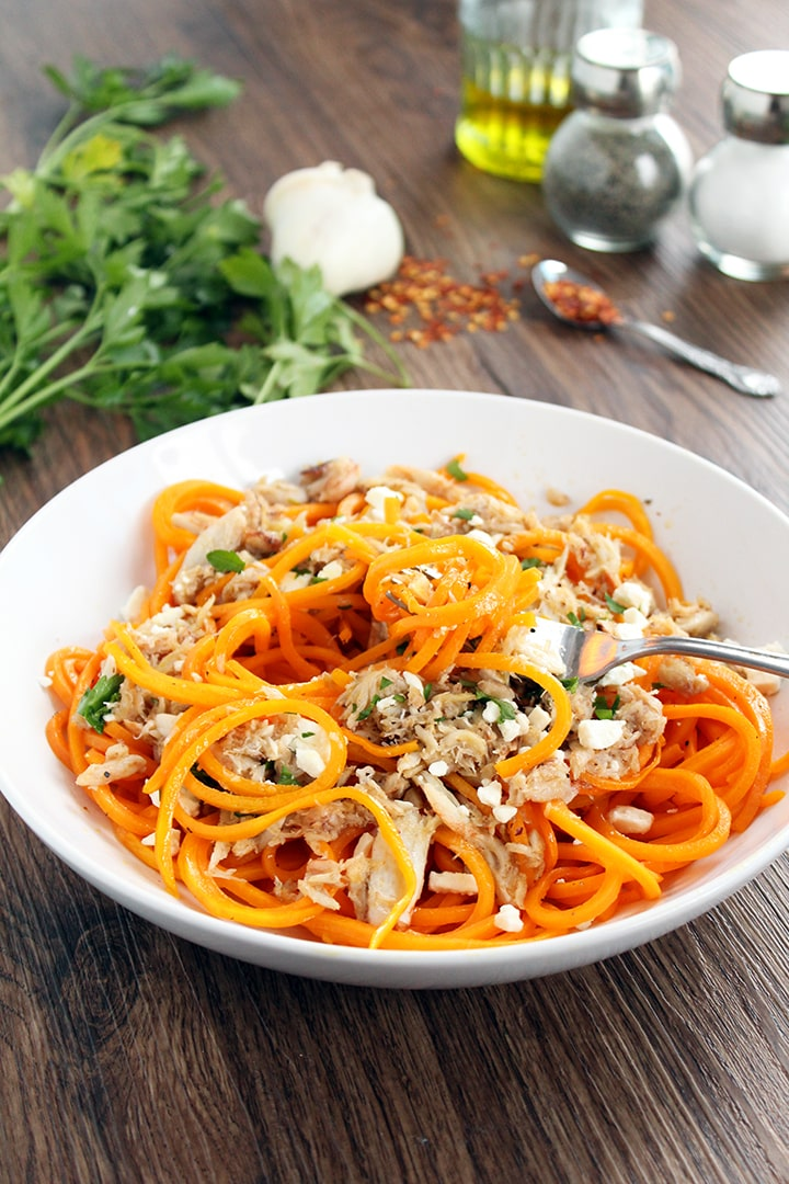Spicy Garlic Lump Crab Butternut Squash Pasta with Feta & Parsley