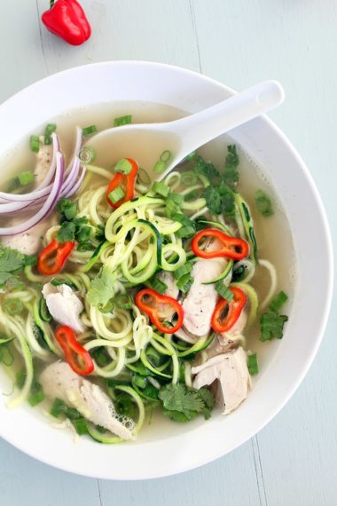 Chicken Pho Zucchini Noodle Soup (Gluten Free!)