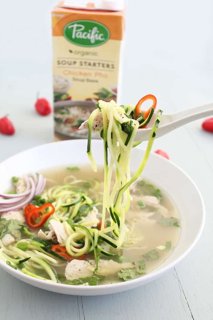 Chicken Pho Zucchini Noodle Soup