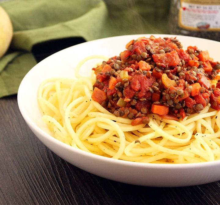 Chunky Lentil Bolognese with Potato Noodles