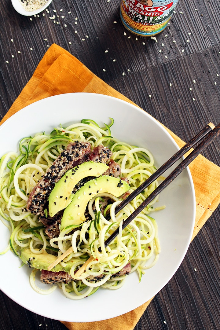 Sesame Crusted Tuna & Avocado with Spicy Sesame Zucchini Noodles