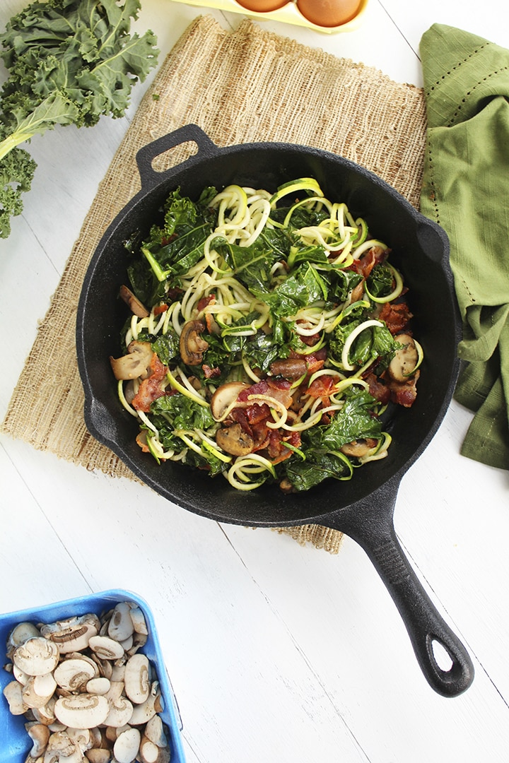 Pesto Bacon Zucchini Spaghetti Frittata with Mushroom and Kale