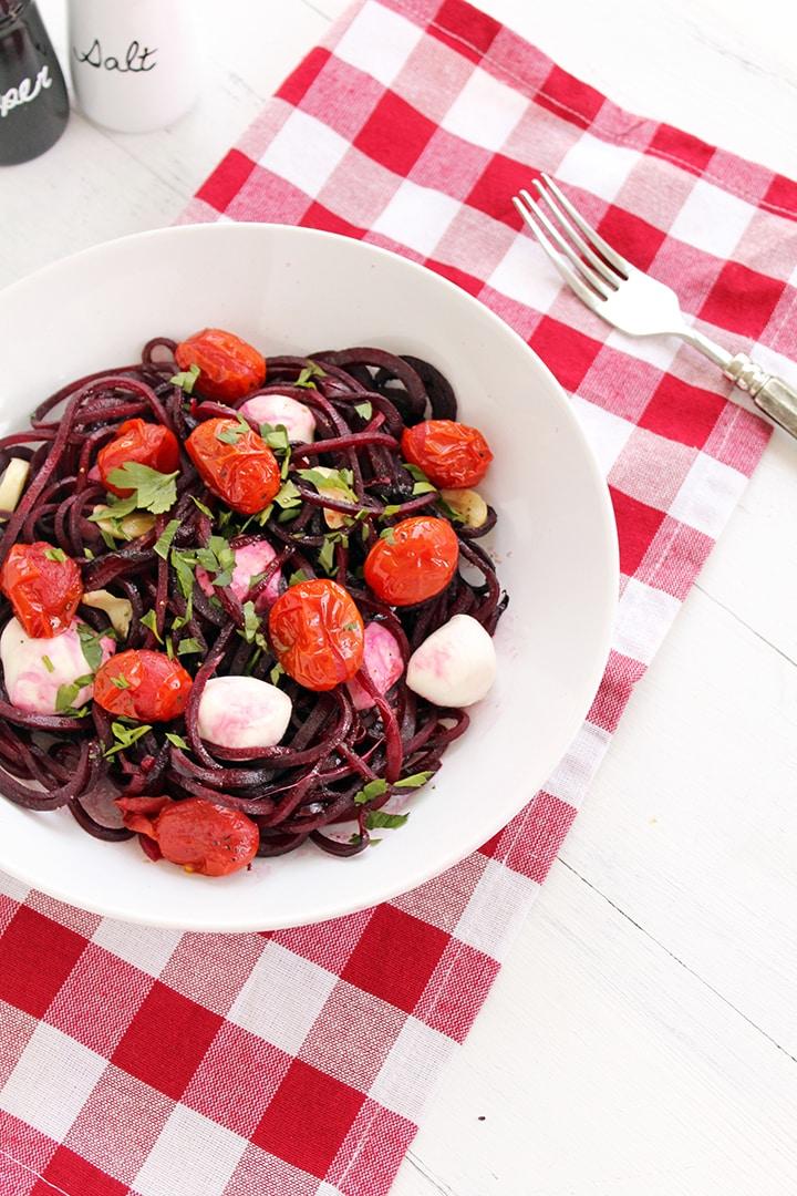 Wintry Caprese Beet Noodles