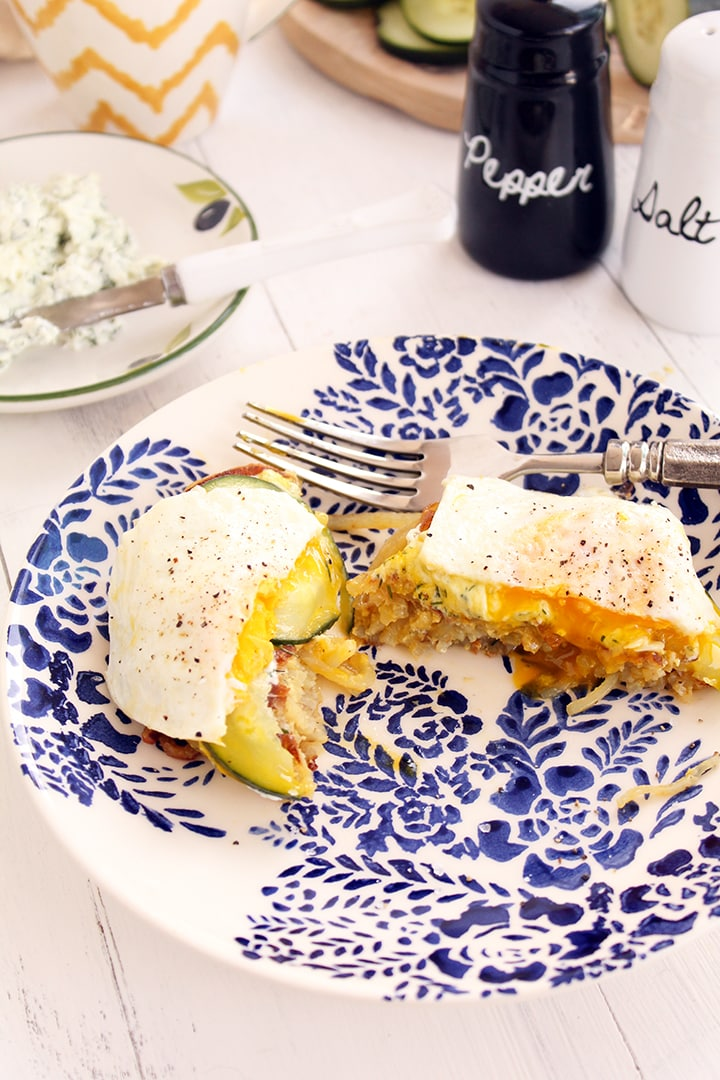 Whipped Dill Goat Cheese Breakfast Buns with Eggs Over Easy