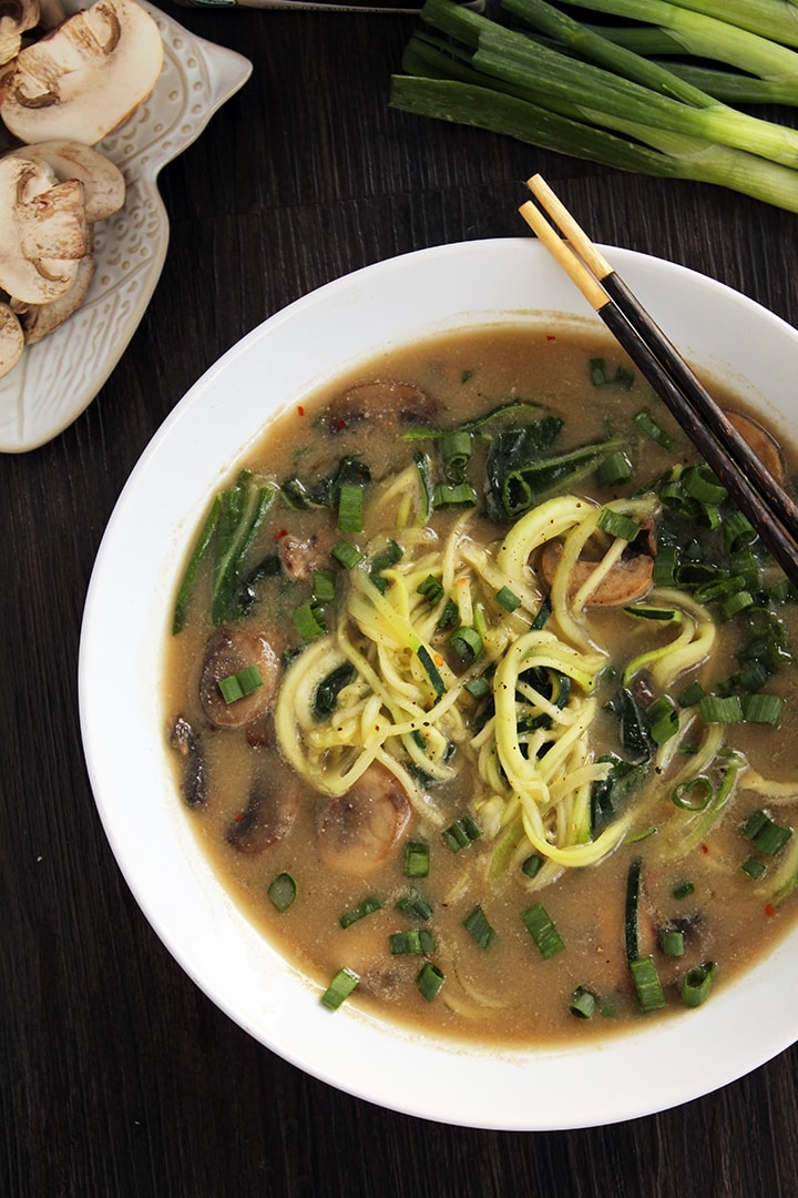Miso Mushroom Zucchini Ramen Noodles