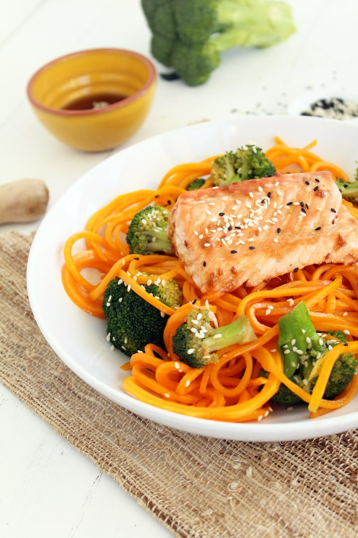 "Baked Salmon & Sesame Butternut Squash ""Soba"" Noodles with Broccoli (at Against All Grain!)"
