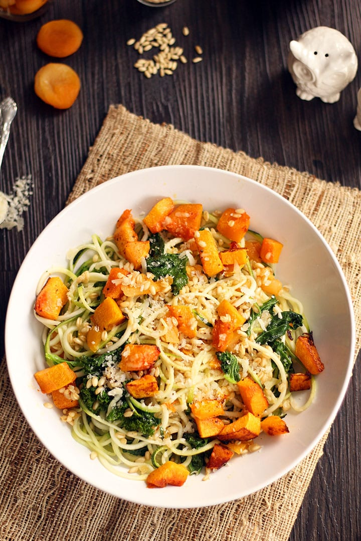 Roasted Butternut Squash Zucchini Pasta with Apricots, Kale and Wheatberries