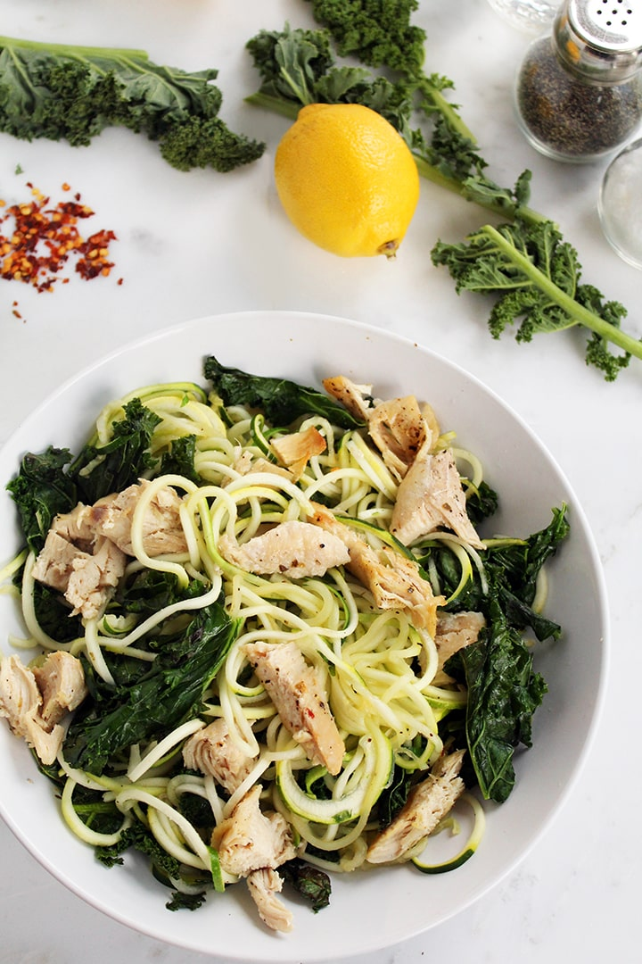 Baked Chicken and Kale Zucchini Pasta
