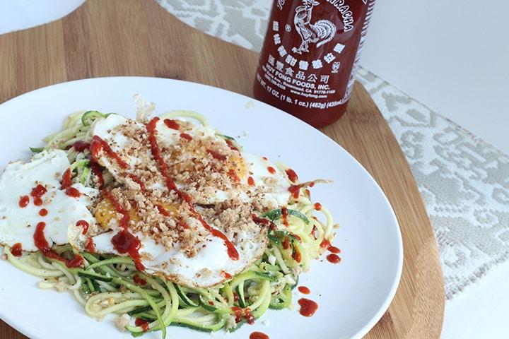 Zucchini Spaghetti and Sriracha Fried Eggs