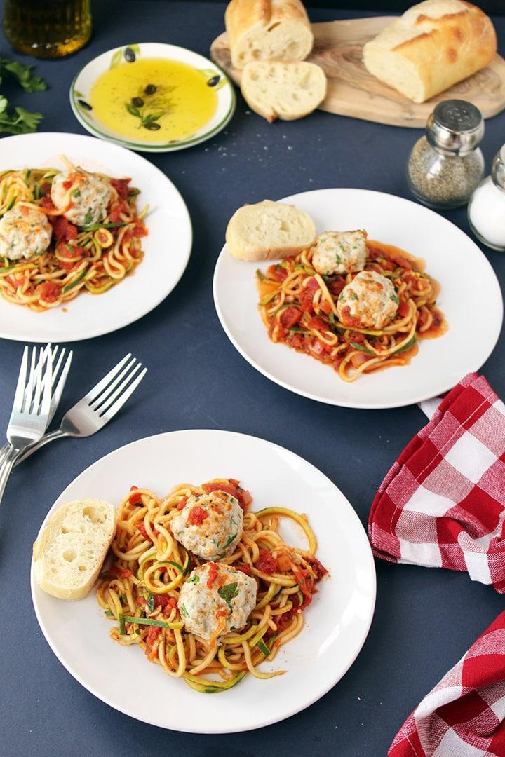 Fire Roasted Tomato Zucchini Pasta with Turkey Meatballs