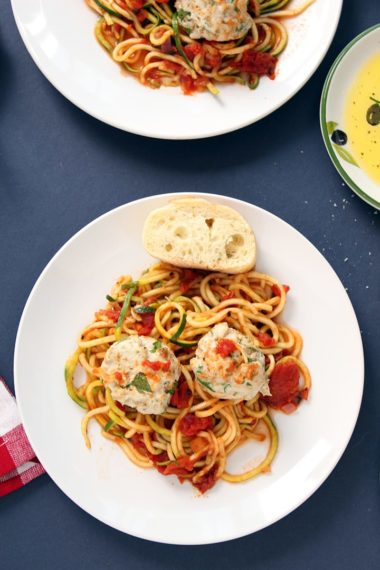 Fire Roasted Tomato Zucchini Pasta with Turkey Meatballs