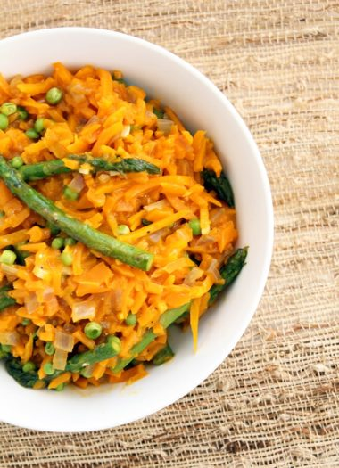 Inspiralized Rice: Parmesan Squash Rice Risotto with Asparagus & Green Peas (Gluten Free)