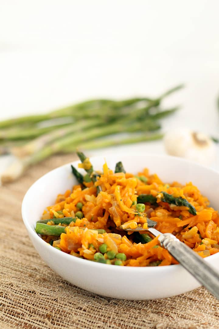 Parmesan Squash Rice Risotto with Asparagus & Green Peas