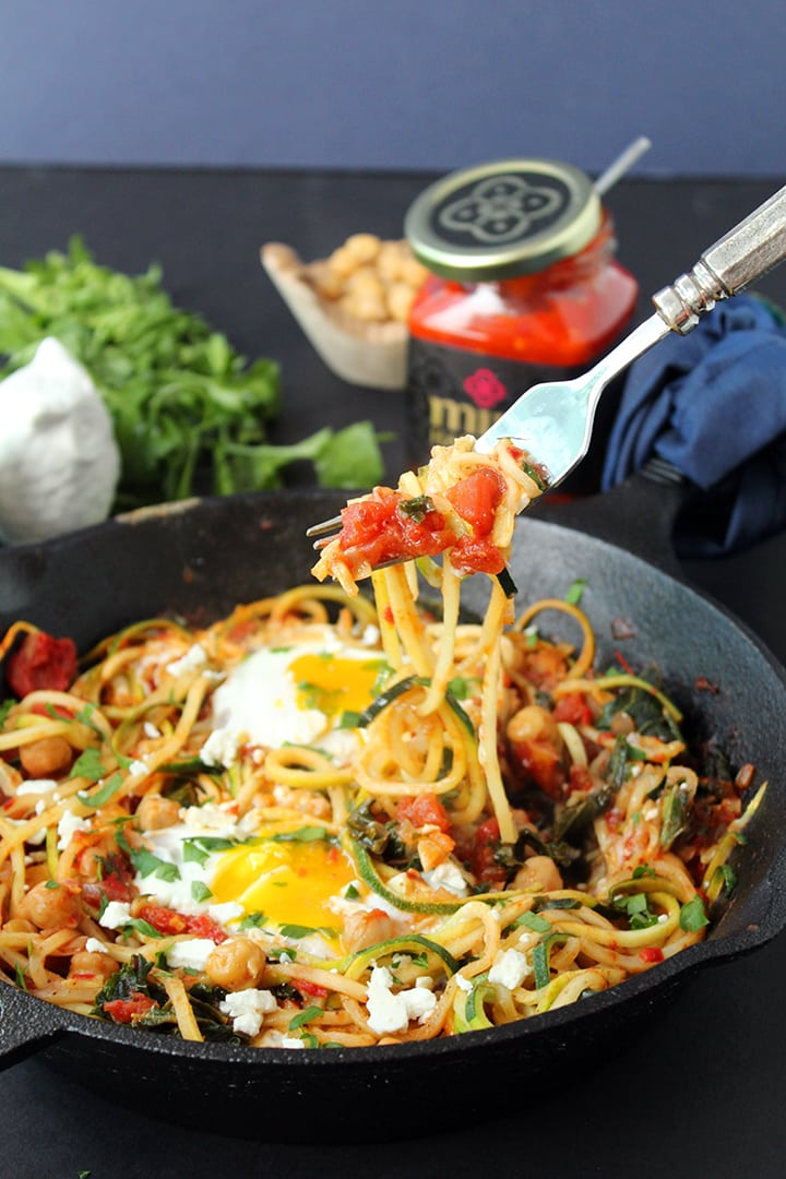 Harissa Zucchini Spaghetti Skillet with Kale, Chickpeas and Poached Eggs